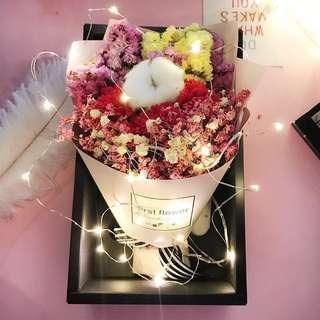 💐Korea Ins Romantic Preserved Flower with Fairy Lights | roses | 불멸의 꽃 | baby breath🌷