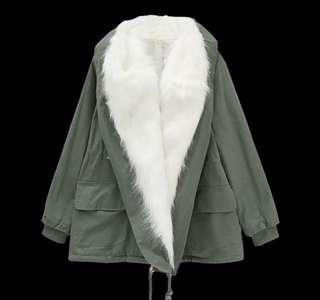 🚚 毛領寬鬆軍外套