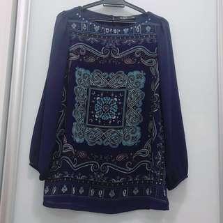 ♥️Preloved - Voir Exchange Pattern Blouse Long Sleeve Dark blue