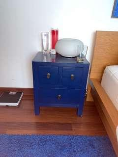 Blue Chinese vintage bed side table