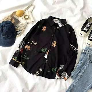 Black Roses Boyfriend Blouse Top