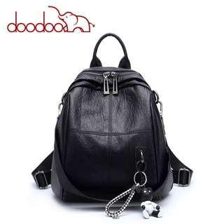 Doodoo Tas Ransel Wanita Model Vintage Retro 2 Way Backpack
