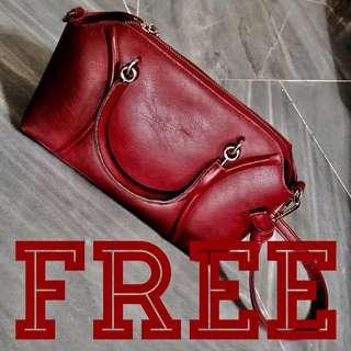 FREE‼️ Maroon Burgundy Leather Finish hand bag purse #JAN55