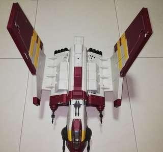 "USED Star Wars Republic Attack Shuttle with 2 Clone Trooper and 2 Clone Pilot Figure Starwars SW Action Figures 3.75"" 3 3/4-inch Craft Hasbro TRU"