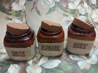 Rice Sugar Salt Ceramic Condiment Jars
