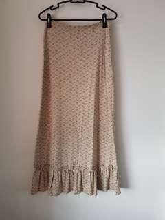 Kookai Long Maxi Printed Skirt with Ruffled Hem