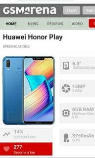 "Honor Play 6.3"" Blue Edition / 4GB RAM 64GB ROM Hisilicon Kirin / free screen protector & casing"