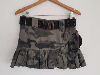 Forever 21 Camo Print Ruffled Hem Skirt