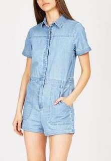 INSIGHT DENIM PLAYSUIT seed bow