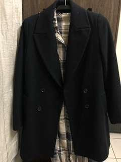 Zara 雙排釦 羊毛 大衣 深藍