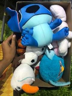 A box of plush toys
