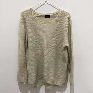 Dotti Oversized Cream Knitted Top Size M