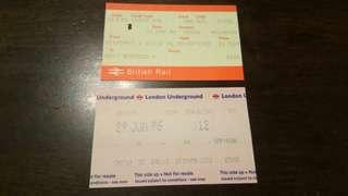 📣包郵📮英國地鐵車票兩張