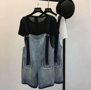 💖💖(S~5XL) Plus size dungaree shorts denim