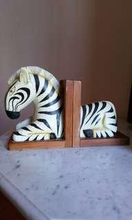 Wooden zebra bookends