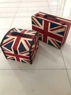 2 Unit / Paket Pajangan / Box / Tempat Penyimpanan motif Bendera Inggris / Union Jack (dapat 2)