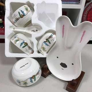🚚 安妮兔🐰四碗四匙+盤