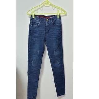 🚚 (全新)韓版  褲腰鬆緊彈性 內刷毛 牛仔長褲-深藍