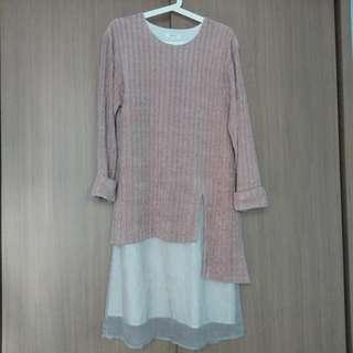 Rococo珊瑚粉色條子絨拼布連身裙