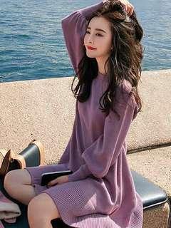 🚚 CD402 包芯紗燈籠袖針織洋裝 連身裙