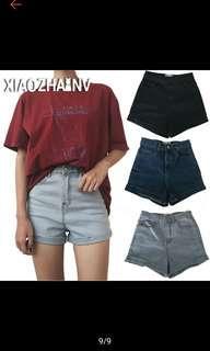 🚚 High Waisted Blue Denim Shorts