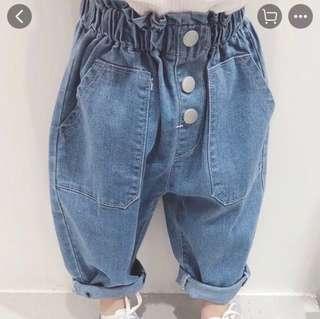 🚚 [全新]布牛仔哈倫褲老爺褲/90