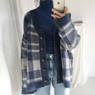 韓版秋冬復古格仔V領加厚針織外套 cardigan/sweater