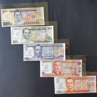 Set of 5pcs 60 Years of Central Banking commemorative NDS banknotes CU