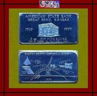 👉 USA - 1x 3 Troy Oz. 999 Fine Silver Chunky Art bar