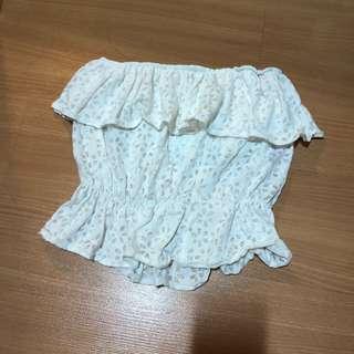 white crochet off shoulder flutter tube top