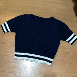 navy blue striped ribbed crop top