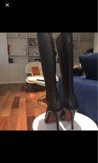 Christian Louboutin black boots 120mm heel