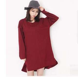 👉👉 Korean Maroon Red Dress Plus size oversized