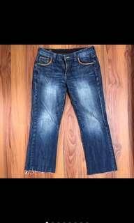 (降)Lee 抽鬚 破壞 刷色 皮邊 古著 直筒 牛仔褲