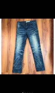 (降)New Boy London 刷色 貓鬚 破壞 小直筒 重磅 牛仔褲