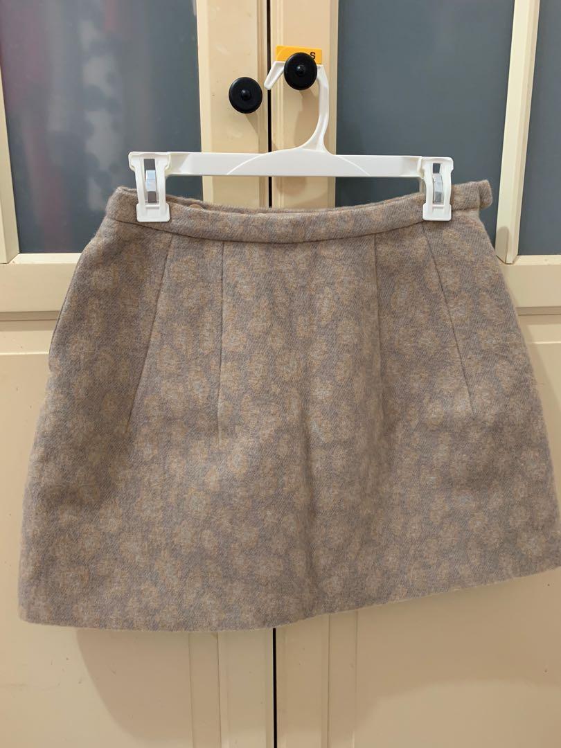 日系品牌31sons de mode動物紋毛料短裙38號