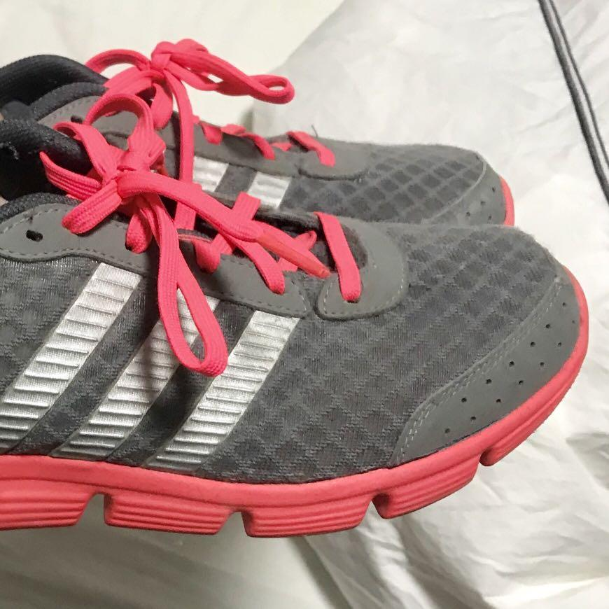 Adidas Gray Sneakers with Neon Pink