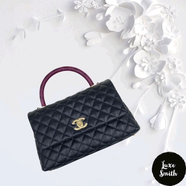 c9de2d7b5428 BNIB Chanel Small Coco with Python Handle in Black Caviar and GHW ...