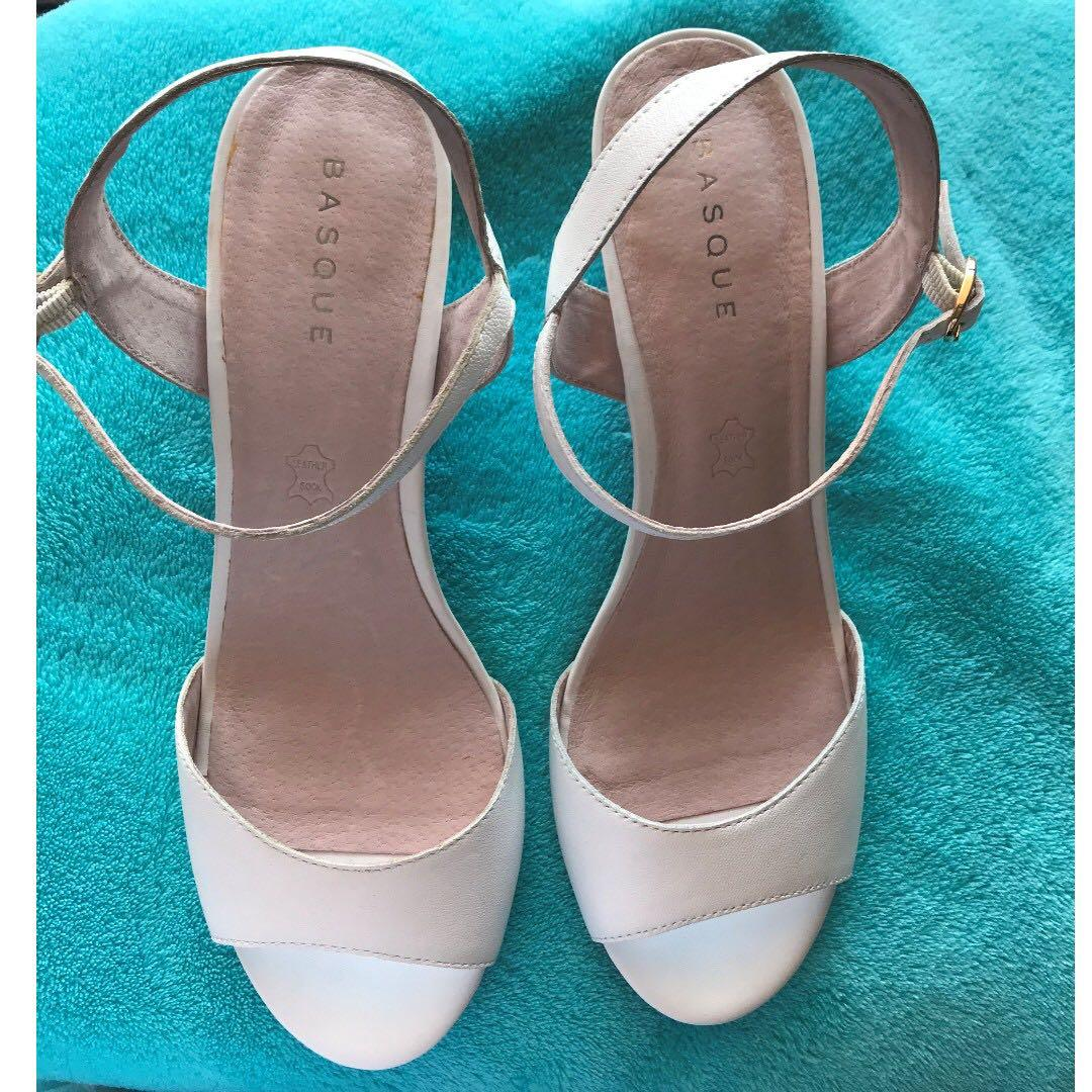 BNWOB Basque Leather Stacked Wedge Heels 41 fit 10 11 $149 White from Myer New