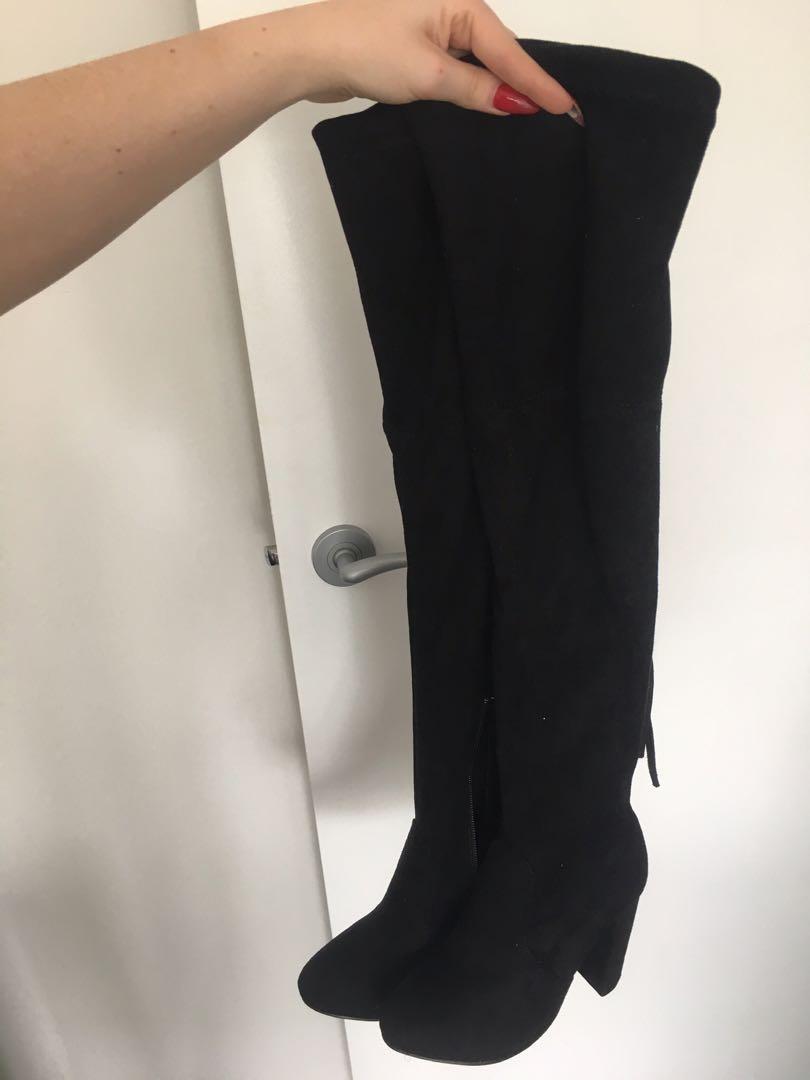 Boohoo Thigh/Knee High Heeled Boots