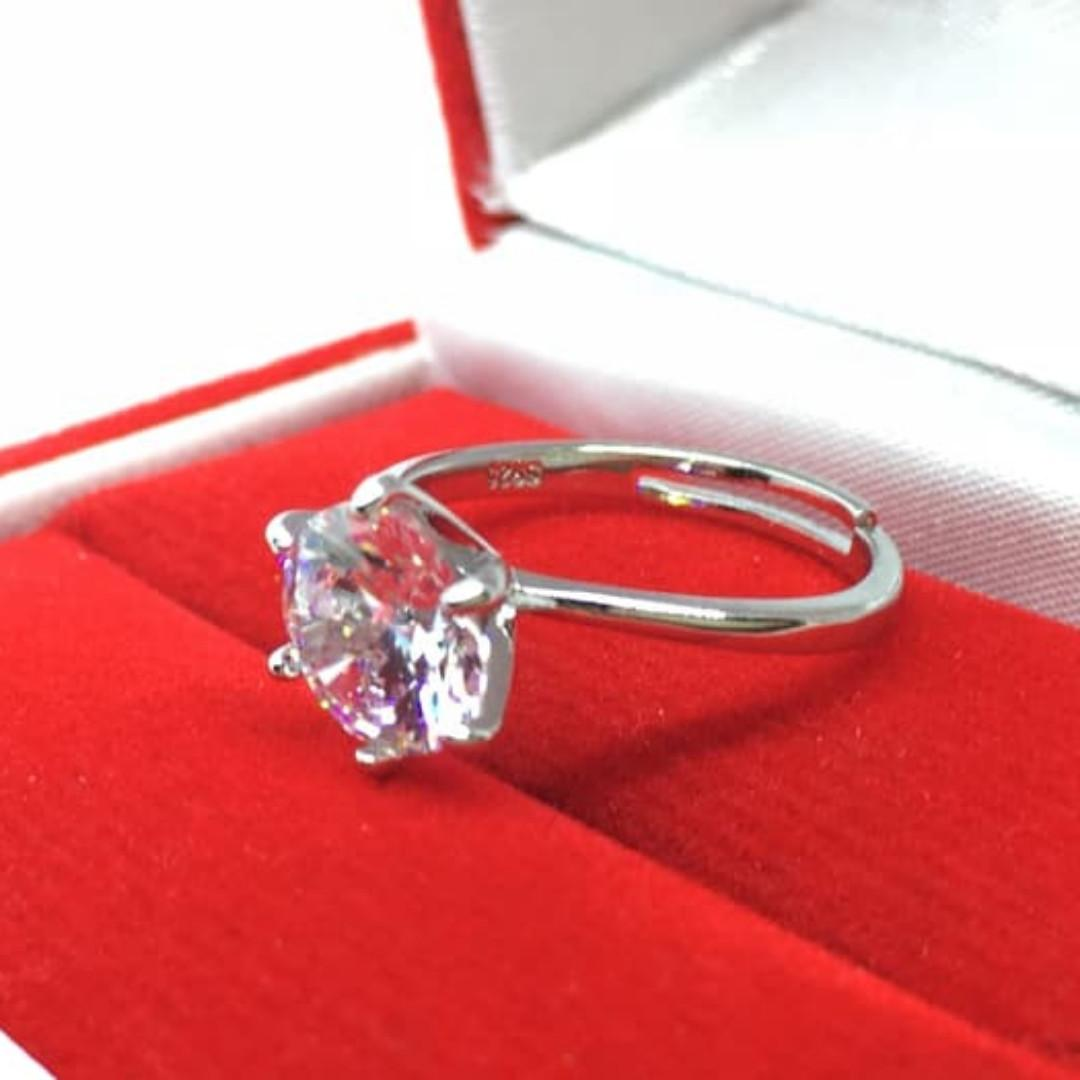 Cincin Silver Platinum Adjustable Size 6 - 9 Berlian Imitasi