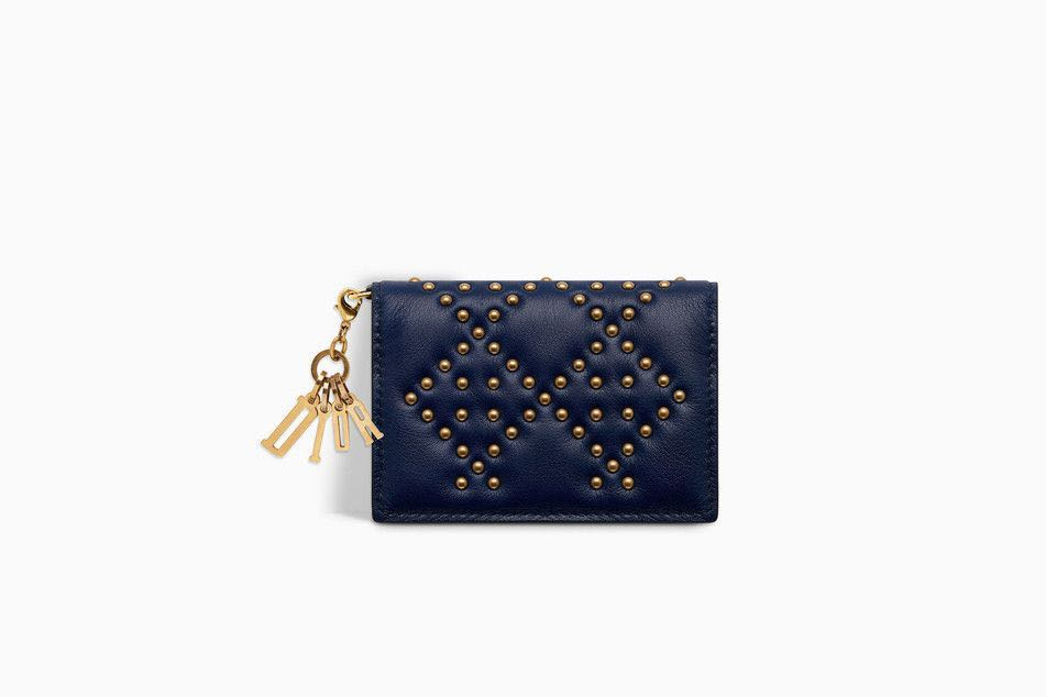 🧨🧧CNY NEW ARRIVAL🧧🧨💯Authentic LADY DIOR CARD HOLDER WITH FLAP IN BLUE  STUDDED CANNAGE CALFSKIN cafd8291bb