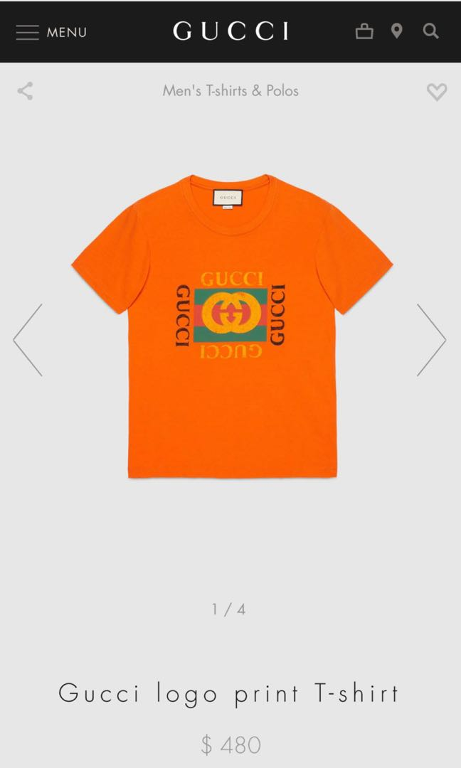 61ef1aa42 Gucci Logo Tee T Shirt, Men's Fashion, Men's Clothes, Tops on Carousell