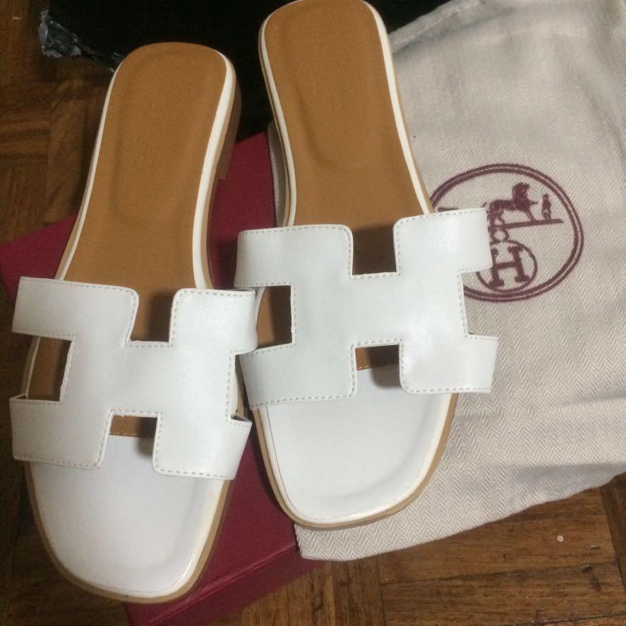 Hermes oran white box calf leather us 8