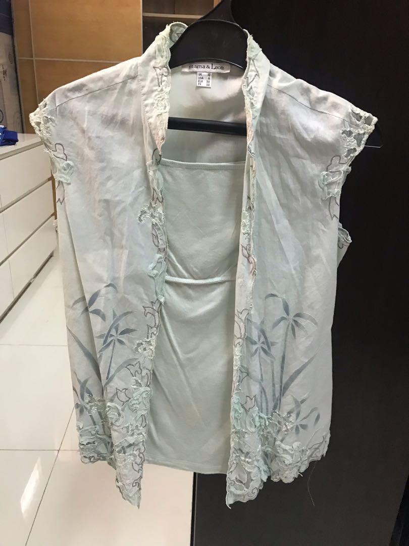Kebaya Encim Tanpa Lengan Hijau Muda Women S Fashion Women S
