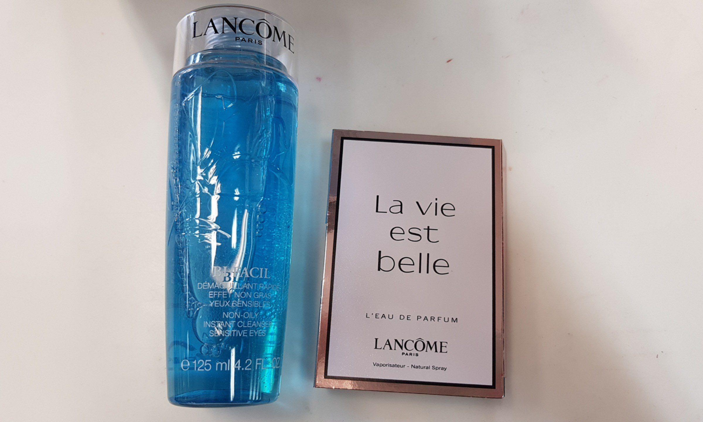 Lancome sensitive eye make up remover & mini La vie belle perfume