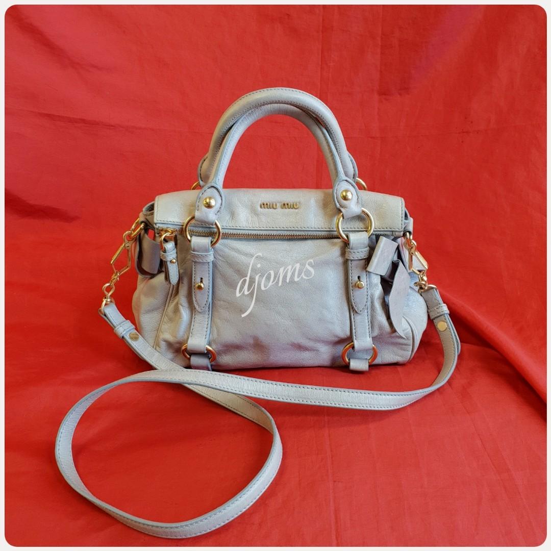 f7b0f2ea2d3 🛑Miu Miu Mini Vitello Lux Bow Sling Bag, Luxury, Bags   Wallets on  Carousell