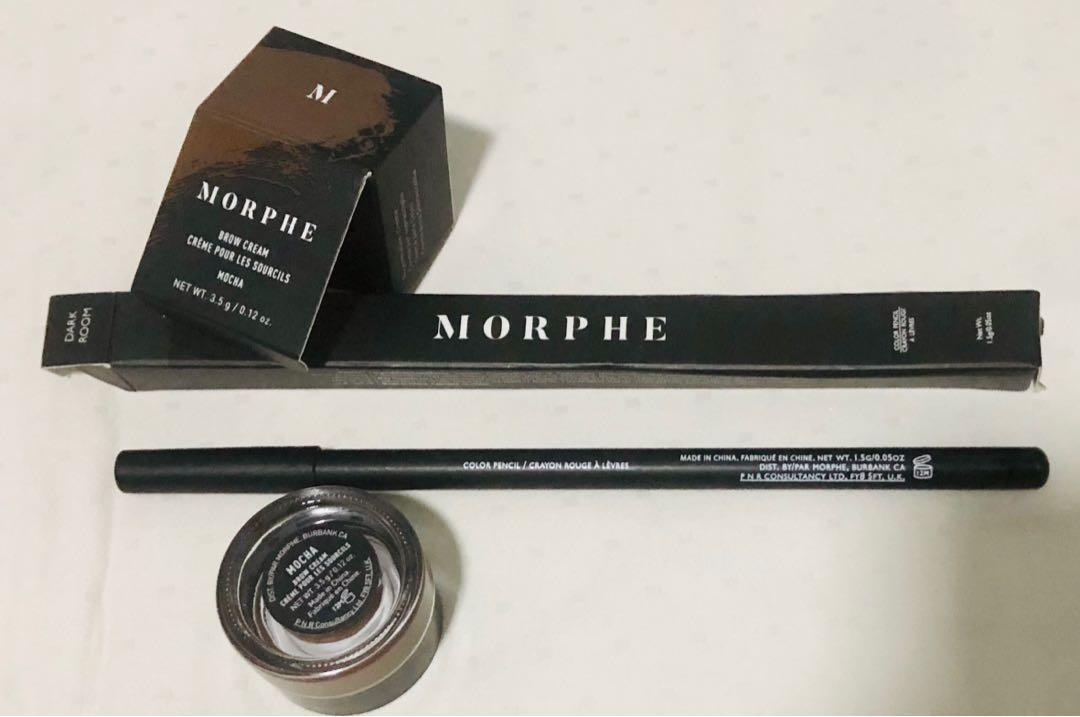 Morphe set of Brow Cream (mocha) & Eyeliner (dark room) on Carousell
