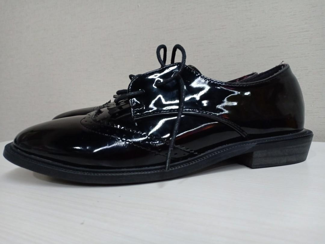 Oxford shoes black glossy #bersihbersih