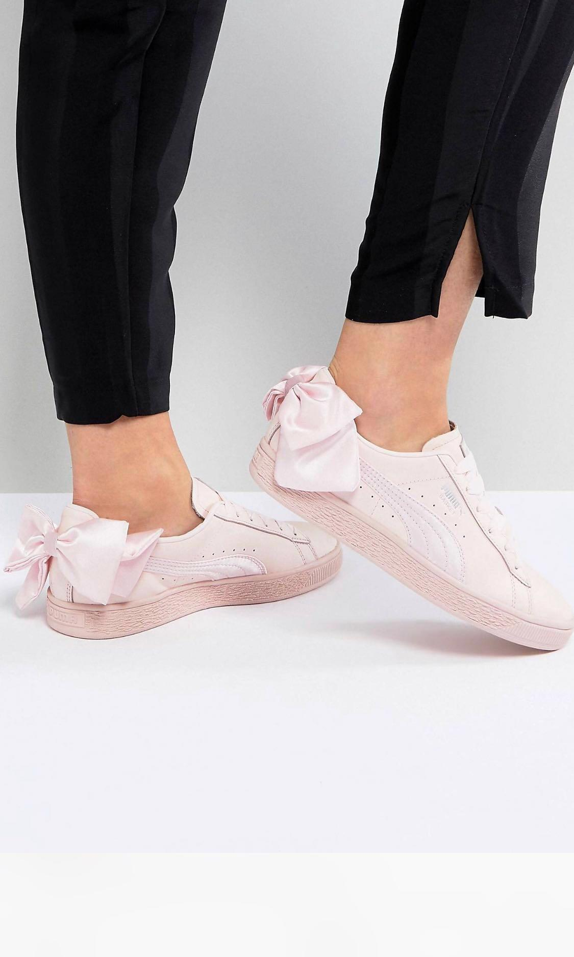 Puma Basket Bow Trainers in Pink, Women